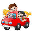 happy family travelling with car vector image vector image