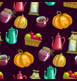 harvest season seamless pattern with household vector image