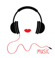 Headphones with cord Red lips Music card Flat vector image vector image