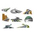 Highway and road icons for transportation design vector image vector image