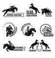 horse racing badges equestrian sport logo or vector image