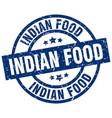 indian food blue round grunge stamp vector image vector image