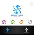 letter s for digital logo marketing financial vector image vector image