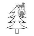 line ethnic owl animal in pine tree vector image vector image