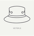 line flat hunt and camping icon hat cap vector image vector image