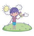 little boy with butterfly in landscape vector image vector image