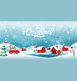 merry christmas and happy new year home town in vector image