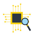 motherboard circuit magnifying glass fintech vector image