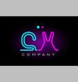 neon lights alphabet cx c x letter logo icon vector image vector image