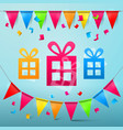 party design with flags and colorful papr cut vector image vector image