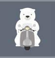 polar bear riding motorbike vector image vector image