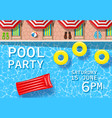 pool party invitation with top view pool vector image vector image