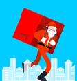 santa claus in city many gifts big red bag vector image vector image