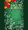 school supplies chalk sketch on blackboard banner vector image