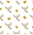 seamless pattern with cute flying owls and mails vector image vector image