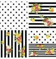 seamless striped and dots style floral pattern vector image vector image