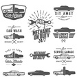 set car service labels emblems and logos vector image vector image
