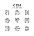 set line icons of gem vector image