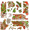 set of colorful Christmas ornaments isolated on vector image vector image