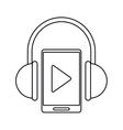 smartphone player music headphones technology vector image vector image