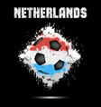 soccer ball in the color of netherlands vector image vector image