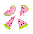 sweet a slice of watermelon set with green skin on vector image