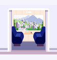 train interior empty trains compartment without vector image vector image