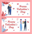 Valentines day set with festively dressed people