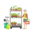 Woman Shopping For Garden Plants Shopping Mall vector image vector image