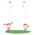 frame with kids vector image