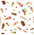 ice cream sweet dessert seamless pattern cold food vector image