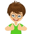 little boy with glasses showing two thumbs up vector image