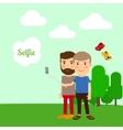 Two boys taking selfie vector image
