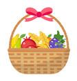 fruit basket icon flat cartoon style jewish vector image
