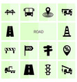 14 road icons vector image vector image