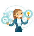 a businesswoman with a lightbulb and a map as vector image vector image