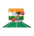 A cheerleader in front of the Indian flag vector image vector image