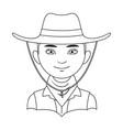 amnricanianhuman race single icon in outline vector image vector image