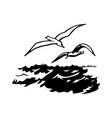 birds over sea vector image vector image
