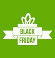 black friday ribbon icon green vector image vector image