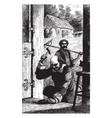blacksmith hammering vintage vector image