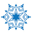 blue silhouette snowflake on white background vector image vector image