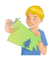 Boy is cutting color paper with scissors vector image vector image