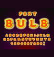 bulb font glowing letters retro alphabet with vector image vector image