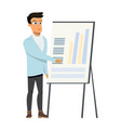 business man pointing diagram chart on whiteboard vector image vector image