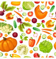 cartoon fresh vegetables seamless pattern vector image vector image