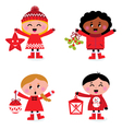 christmas kids collection vector image