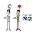 coloring page with basketball player cartoon vector image vector image