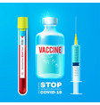 coronavirus vaccine medical syringe and blood vector image