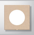 craft cardboard pizza box container with clear vector image